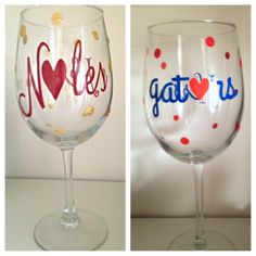 FSU noles or UF gators wine glass. Great gift by SEVENTHandJ, $15.00