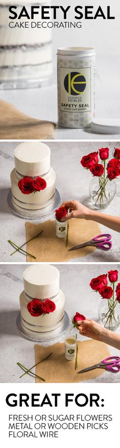Adding fresh flowers, floral wire, or picks to your cake? Ensure that everything you add is food-safe with this revolutionary safety seal for cake decorating.