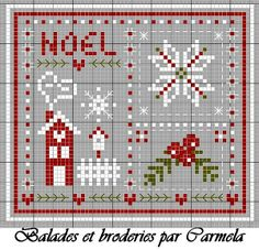cross-stitch cute Christmas biscornu freebie... no color chart available, just use the pattern chart as your color guide.. or choose your own colors...