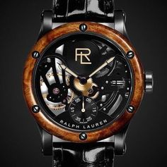 Gorgeous gift for the guys: RL's Classic new watch. Love the wooden surround and black alligator band.
