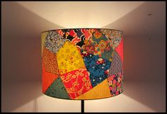 Mozaik lamp. Original cylindrical lamp shade collage of Japanese paper
