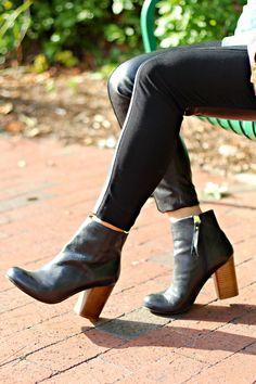 { black booties + leather pants }