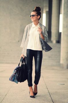 sequined jacket, leather leggings, classic blouse and pumps <3