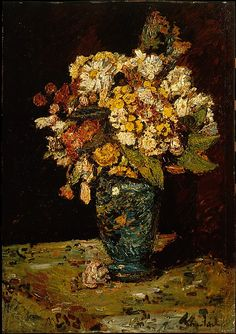 Flowers in a Blue Vase  Adolphe-Joseph-Thomas Monticelli  (French, Marseilles 1824–1886 Marseilles)