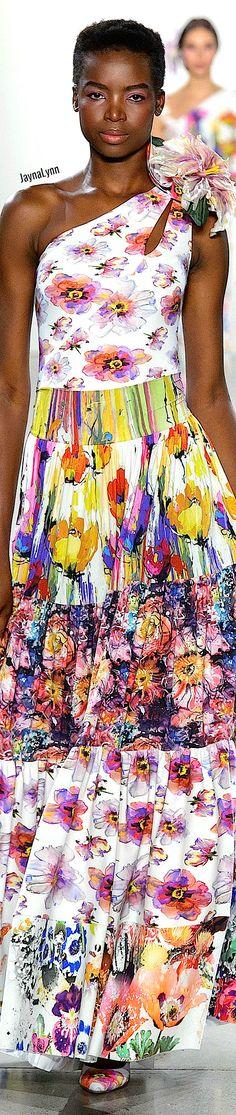 Chiara Boni La Petite RTW Spring 2019 Floral Fashion, Color Mixing, Shoulder Dress, How To Wear, Fashion Trends, Dresses, Colorful, Spring, Blue
