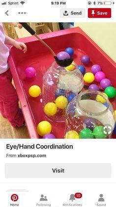 Hand eye coordination, sensory bin activities for toddlers sensory Toddler Sensory Bins, Sensory Tubs, Sensory Boxes, Toddler Learning Activities, Preschool Lessons, Infant Activities, Classroom Activities, Sensory Play, Sensory Diet
