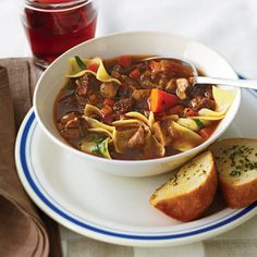 """Rich with meat and vegetables, this hearty and versatile riff on Boeuf Bourguignon will satisfy all season long. From first bite to last slurp, you won't be able to get enough of this French bistro-style soup, made entirely in one pot. This recipe was also featured on """"Mad Hungry"""" with Lucinda Scala Quinn."""