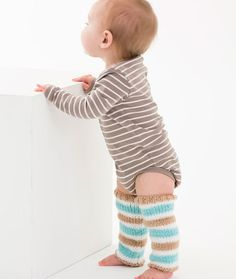 Simple Striped Baby Legwarmers Free Knitting Pattern in Red Heart Yarns -- Keep baby comfy and protect crawling knees with these fashionable legwarmers. Using this tested yarn gives you confidence that it is free of over 300 harmful substances.