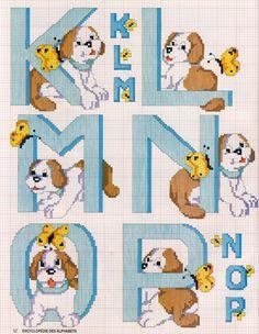 Schema punto croce Alfabeto cane 3