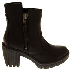 Ladies CATERPILLAR LEATHER CAT Boots WIDE FIT Chunky High Heels Size 3 4 5 6 7 8: Amazon.co.uk: Shoes & Bags