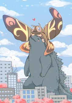 Godzilla and Mothra, King and Queen of the monsters fanart Movie: Godzilla: King of The Monsters unknown ( to me at least ) (not sure what the signature says) All Godzilla Monsters, Godzilla Comics, Chibi, Fantasy Creatures, Mythical Creatures, Costume Godzilla, Illustration Kawaii, Character Art, Character Design
