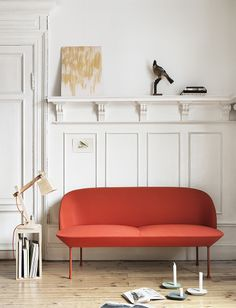 Muuto - Oslo 2-seater in tangerine, designed by Anderssen & Voll, together with the iconic Wood Lamp by TAF Architects and SS14 news Float candlestick by Anderssen & Voll.