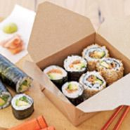 Avocado Sushi - Sushi-making is a snap -- and so healthful -- with our salmon-avocado sushi recipe. Be sure to use authentic sushi rice, which retains an appropriately sticky texture for expert rolling. #myplate #protein #vegetables