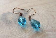 Aqua blue Earrings Faceted crystal by MADAMBLUEONE on Etsy, $15.00