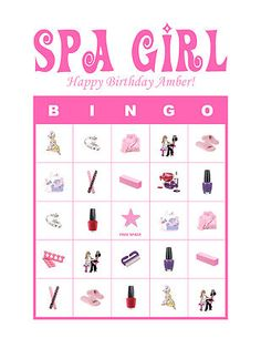 Spa Girl Diva Personalized Birthday Party Game Bingo Cards