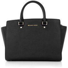 Michael Kors Handle Bags, MICHAEL Selma LG TZ Satchel Black Handbag (£330) ❤ liked on Polyvore featuring bags, handbags, black, leather satchel, handbags purses, leather handbags, michael kors purses and man bag