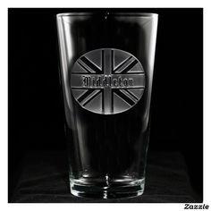 Union Jack Personalized Pint Glass