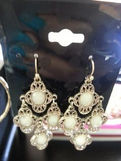 Antique & Cream Earrings with Gold