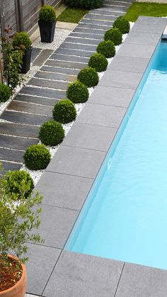 modern pools landscaping / modern pools _ modern pools backyard _ modern pools with spa _ modern pools design _ modern pools landscaping _ modern pools with waterfalls _ modern pools ideas _ modern pools with slide Pool Paving, Swimming Pool Landscaping, Small Backyard Pools, Backyard Patio Designs, Backyard Landscaping, Pool Fence, Pool Decks, Small Patio, Landscaping Ideas