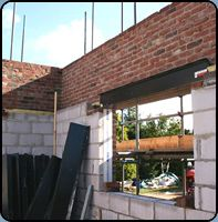 Exposed Lintel during construction