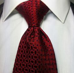 Jos. A. Bank Silk Tie Red Navy Geometric Woven CEO Signature Collection 61 Long #JosABank #NeckTie