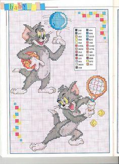 Il Gatto Tom che gioca a tennis e a basket schemi punto croce