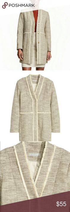 H&M Textured Weave Coat Brand NEW w/o tags!! Coat features:  textured weave with a fringe trim, V-neck with no collar, concealed press-stud fastening at the front, and side pockets. Lined. Composition Shell: Cotton 77%; Polyester 23% Lining: Polyester 52%; Viscose 48% H&M Jackets & Coats