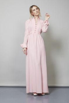 Vintage 1970's blush pink Ossie Clark crepe dress