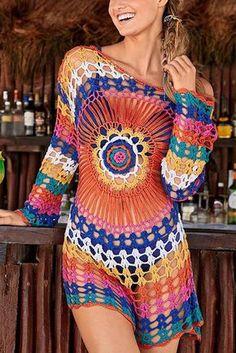 Crochet Blusas Design Colorful Knit Swimwear Beach Bikini Cover Up - Color : Picture Size : Free Occasion : Swimwear/Beach Fabric : Polyester Length : Shoulder : Sleeve : Crochet Beach Dress, Black Crochet Dress, Crochet Dresses, Swimwear Cover Ups, Bikini Cover Up, Swimsuit Cover, Bikini Swimsuit, Bikini 2018, Bikini Dress