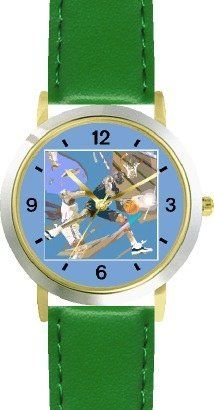 High Action Basketball Art No.5 Basketball Theme - WATCHBUDDY® DELUXE TWO-TONE THEME WATCH - Arabic Numbers - Green Leather Strap-Children's Size-Small ( Boy's Size & Girl's Size ) WatchBuddy. $49.95