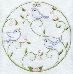 Machine Embroidery Designs at Embroidery Library! - Bluebirds