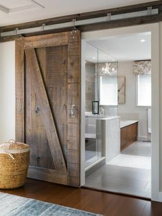 Bathrooms Design:Elegant How To Make Interior Sliding Barn Doors Home Designing With Door For Bathroom Attachment Id Diy Hardware Stainless Steel Style House Track Bypass Lock Rustic Farm barn door for bathroom - March 09 2019 at House Design, Farmhouse Bathroom Decor, Modern Farmhouse Bathroom, Rustic Bathrooms, Sliding Barn Door Hardware, Bathroom Interior Design, Bathroom Barn Door, Bathroom Design, Bathroom Remodel Master