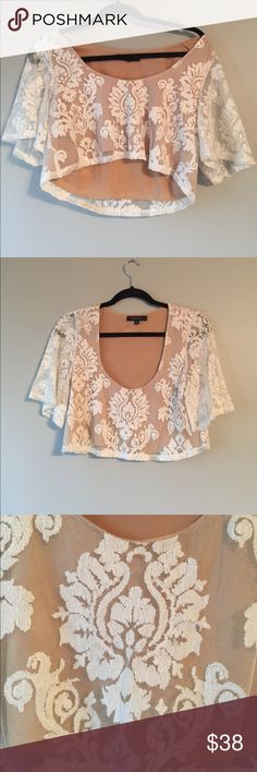 Slight off the shoulder flowy top White and nude = sheer perfection. Perfectly lined so nothing shows. Pair with dark washed jeans and sandals for a casual but cute look! Longer style crop top. Brand new never worn Honey Punch Tops