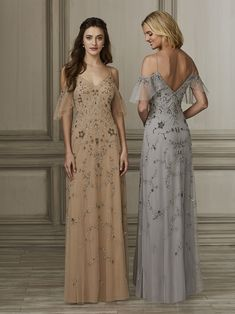 936cdac48e Adrianna Papell Platinum 40137 is an all over beaded tulle bridesmaid gown  that has a beautiful floral and scroll motif. The off the shoulder beaded  flutter ...