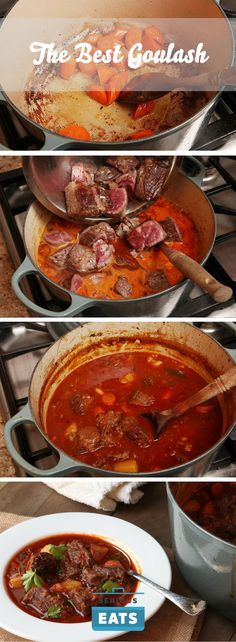 A rich and hearty Hungarian beef stew flavored with paprika.