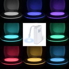 Buy Colors Smart PIR Motion Sensor Toilet Seat Night Light Waterproof Backlight for Toilet Bowl LED Luminaria Lamp WC Toilet Light at Wish - Shopping Made Fun Led Night Light, Light Led, Toilet Bowl Light, Stage, Dim Lighting, Bathroom Lighting, Led Licht, Night Lamps, Glass