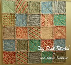 VERY easy instructions/tutorial for rag quilt - I think this'll be my first attempt at a quilt, but maybe a little bigger blocks for a larger finished size. Quilt Tutorials and Fabric Creations - Quilting in the Rain - Rag Quilt Patchwork Quilting, Quilting Tips, Quilting Tutorials, Quilting Projects, Sewing Projects, Quilt Baby, Fabric Crafts, Sewing Crafts, Rag Quilt Patterns