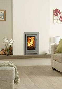 Stovax Riva 45 woodburning and multi-fuel cassette fire, hearth mounted with a… More