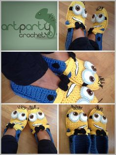 Cute as a button Crochet Minion Shoe / Slippers Pattern baby/child size US PATTERN Crochet Slipper Pattern, Crochet Shoes, Crochet Slippers, Crochet Clothes, Crochet Gifts, Cute Crochet, Crochet For Kids, Knit Crochet, Baby Patterns