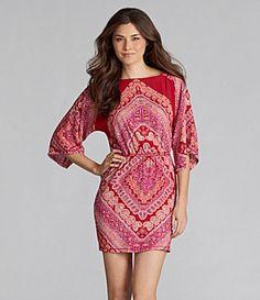 Chevronish print dress, coral, orange and poppy