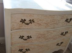 I am refinishing a mid-century modern dresser to use as a media console and I'm thinking of doing a lace pattern like this, with a metallic silver paint and a matte sealer as the contrast.