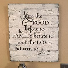 "This rustic wood sign is perfect for any Farmhouse or Southern Style Kitchen. It provides a vintage look and is overlayed with a traditional Southern Kitchen blessing. - Size: 16"" x 24"" - Material: Wo"