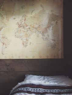 Bedroom wall art. pin places we want to go.