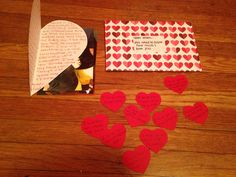 Open When You Need To Know How Much I Love You- A heart shapes letter, 10 reasons why I love you on mini hearts, and pictures of us. For My Navy Boyfriend. #pre deployment #navy #military love