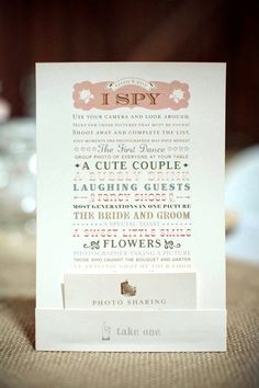 """""""I Spy..."""" for wedding guests!  I dont shoot weddings but I love this so much I need to save it! - Wish I had this at my wedding."""