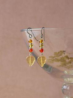 woodland earrings by HandmadeEarringsUK on etsy Amber Color, Colored Glass, Earrings Handmade, Woodland, Glass Beads, Autumn, Drop Earrings, Sterling Silver, Stuff To Buy