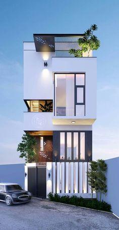Architecture building - 39 new modern exterior design ideas for your house 15 Facade Design, Villa Design, Exterior Design, Small House Design, Modern House Design, Townhouse Designs, Narrow House, Facade House, Modern Exterior