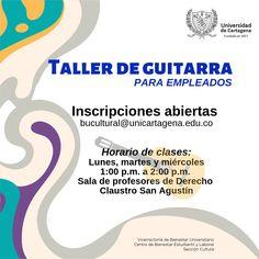 Taller de Guitarra (Sólo para empleados) #Unicartagena #Bienestar Chart, Personal Care, Class Schedule, Senior Boys, Cartagena, Atelier, Personal Hygiene