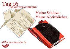 Tag 16 - Meine Notizbücher von Mira Alexander, http://www.miraalexander.de , #Autorenwahnsinn. Das Bild zeigt eine China-Kladde mit einem Stift sowie von mir gebastelte Leporellos.