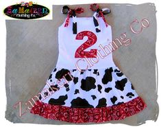 toddler girls cow outfit | Cow Bandana Girl Dress - Custom Boutique Clothing - Girl Birthday Farm ... birthday dresses, barnyard parti, girl birthday, birthdays, birthday idea, 2nd birthday outfit girl, boutique clothing, farm dress, farm birthday